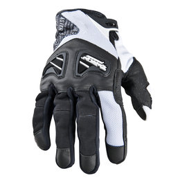 White Speed & Strength Run With The Bulls Leather Textile Gloves