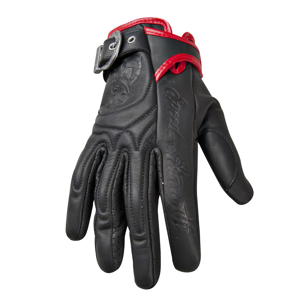 Womens leather motorcycle riding gloves - Black Speed Strength Womens Moto Lisa Leather Gloves