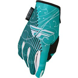 Teal, White Fly Racing Womens Kinetic Gloves 2015 Teal White