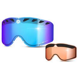 Blue Mirror, Light Amber Triple 9 Optics Repl Lens W Tear-off Pins F Saint Goggles 2014 Blue Mr Lt Amb