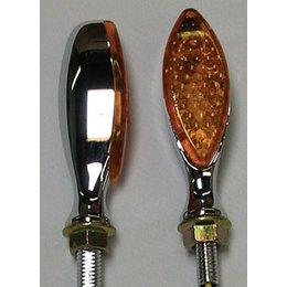 Chrome Bodies, Amber Lenses Dmp Led Marker Lights Long Oval Chrome Amber