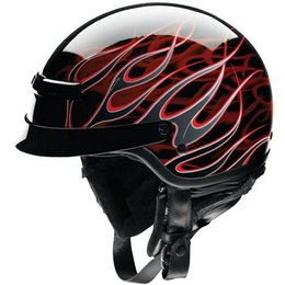 Black, Red Z1r Nomad Hellfire Half Helmet Black Red