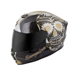Scorpion Womens EXO-R420 EXOR 420 SugarSkull Full Face Helmet Black
