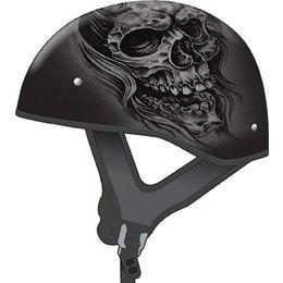 Flat Black, Silver Gmax Mens Gm65 Tormentor Naked Half Helmet 2013 Flat Black Silver