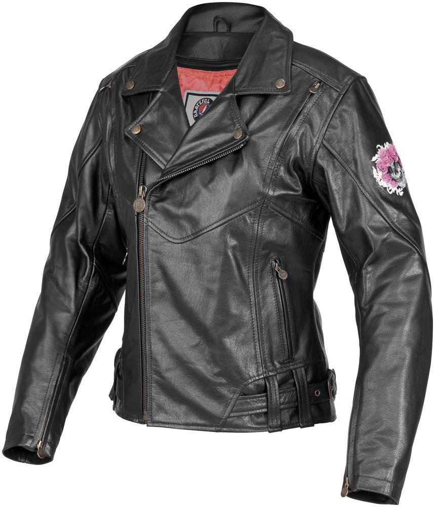 Leather jacket with roses - Black River Road Womens Grateful Dead Skull Roses Leather Jacket 2013