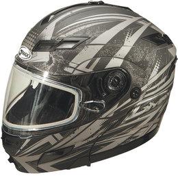 Flat Black, Silver Gmax Gm54s Modular Snow Helmet With Dual Pane Shield Flat Black Silver 3x