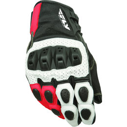 White, Red Fly Racing Mens Brawler Perforated Leather Gloves 2015 White Red