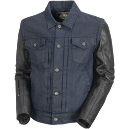 RSD Mens Honcho Water Resistant Denim And Leather Jacket Blue