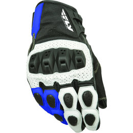 White, Blue Fly Racing Mens Brawler Perforated Leather Gloves 2015 White Blue