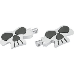 Drag Specialties Skull Rear Footpegs Pair For Harley Chrome With Black 1620-0466