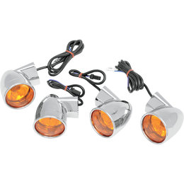 Drag Specialties Bullet-Style Turn Signal Kit For Harley Chrome Amber 2020-0391
