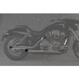 MAC 2:2 Staggered Dual Exhaust W/ Slash-Cut Mufflers Chr For Kaw VN 1500 Classic