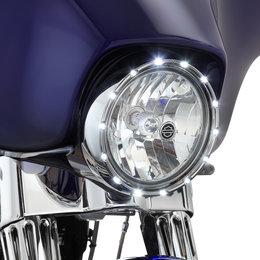 Chrome Ring, White Led's Arlen Ness Fire Ring Running Lights 7 In Black White Led Hd Flhr T X 1984-2011