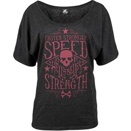 Speed & Strength Womens Hell's Belles Slouchy Wide Scoop Neck T-Shirt Grey