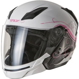 White, Pink Fly Racing Tourist Cirrus Open Face Helmet 2013 White Pink