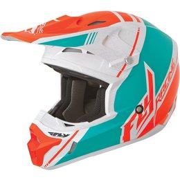 White, Hi-vis Orange, Teal Fly Racing Kinetic Pro Trey Canard Replica Helmet White Hi-vis Orange Teal