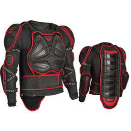 Black, Red Fly Racing Barracade Long Sleeve Body Armor Protection Jacket Black Red 2x