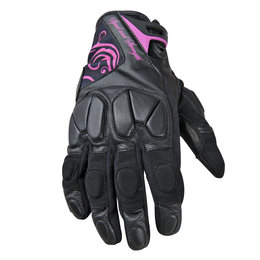 Black, Pink Speed & Strength Womens Cat Out'a Hell Leather Textile Gloves Black Pink