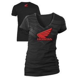 Black Honda Womens Abstract Wing V-neck T-shirt