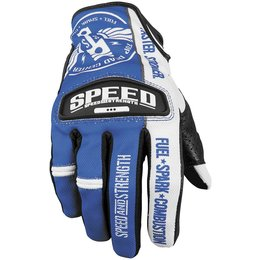 Blue, White Speed & Strength Top Dead Center Leather Mesh Gloves 2013 Blue White