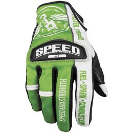Green, White Speed & Strength Top Dead Center Leather Mesh Gloves 2013 Green White