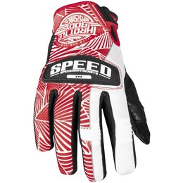 Red, White Speed & Strength Womens Throttle Body Leather Mesh Gloves 2013 Red White