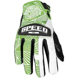 Green, White Speed & Strength Womens Throttle Body Leather Mesh Gloves 2013 Green White Sm