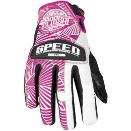 Pink, White Speed & Strength Womens Throttle Body Leather Mesh Gloves 2013 Pink White Sm