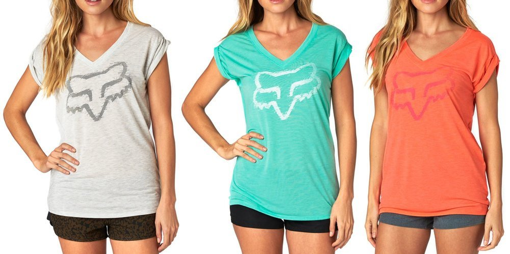 Fox Racing Fox Girl Extent Vneck Roll Sleeve Tee Shirt Black
