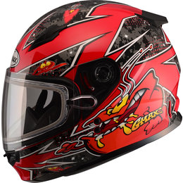 GMAX Youth GM49Y GM-49Y Alien Snowmobile Helmet With Dual Pane Shield Red