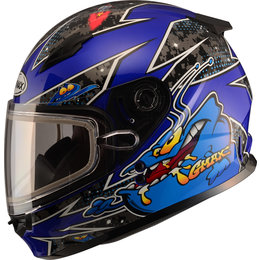 GMAX Youth GM49Y GM-49Y Alien Snowmobile Helmet With Dual Pane Shield Blue