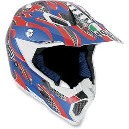 Red, Blue Agv Ax-8 Evo Flame Helmet Red Blue