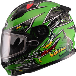 GMAX Youth GM49Y GM-49Y Alien Snowmobile Helmet With Dual Pane Shield Green