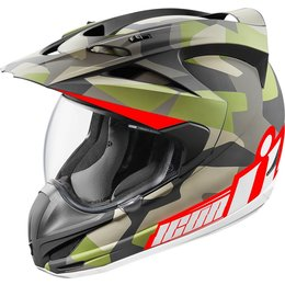 Icon Variant Deployed Dual Sport Helmet With Anti-Lift Visor Green