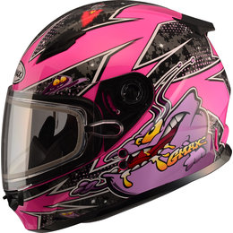 GMAX Youth Girls GM49Y GM-49Y Alien Snowmobile Helmet With Dual Pane Shield Pink