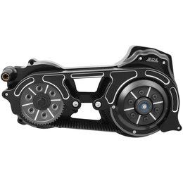 Belt Drives 2 Inch 1-Piece Motor Plate Kit Harley FLHT FLT Black EVO-16BH-2B Black