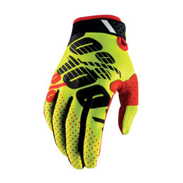 100% Mens Ridefit MX Motocross Offroad Riding Gloves Yellow