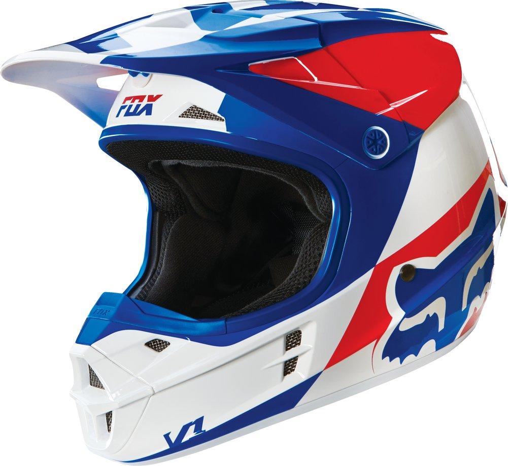 fox racing v1 mako dot mx motocross riding helmet closeout. Black Bedroom Furniture Sets. Home Design Ideas