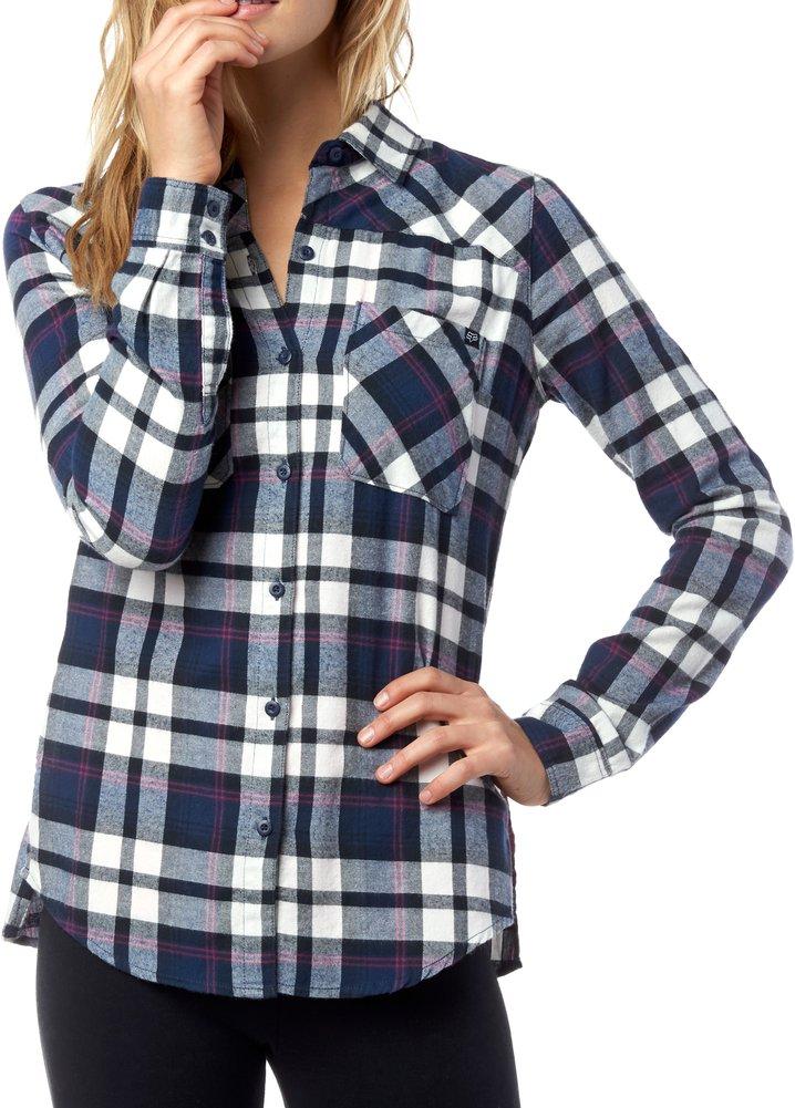 Fox racing womens flown long sleeve plaid flannel shirt for Long plaid flannel shirt