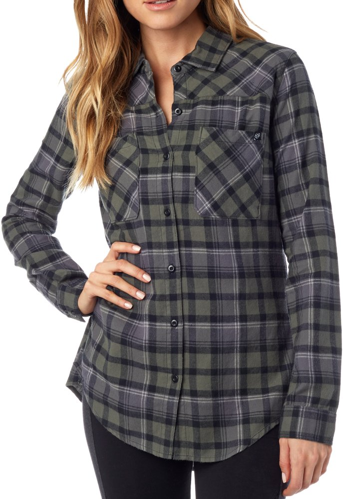 Fox racing womens flown long sleeve plaid flannel shirt ebay for Flannel checked long sleeve shirt