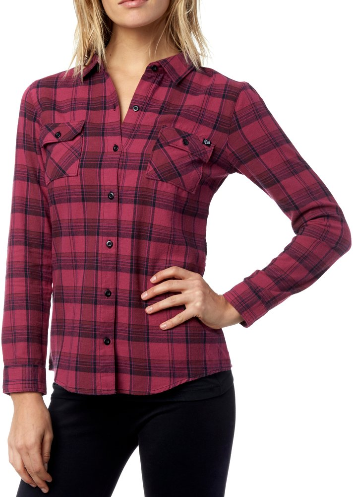 Fox racing womens variegate long sleeve plaid cotton for Where to buy cheap plaid shirts