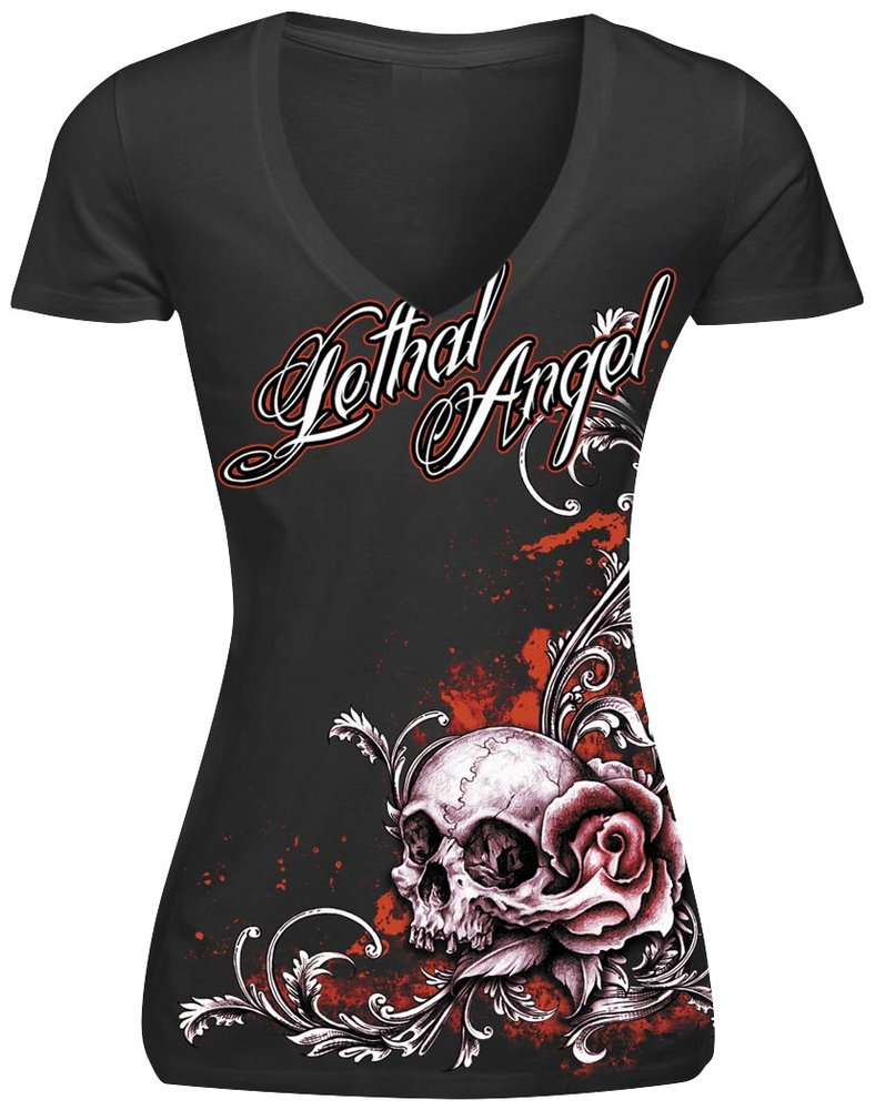 lethal threat womens lethal angel floral rose skull t