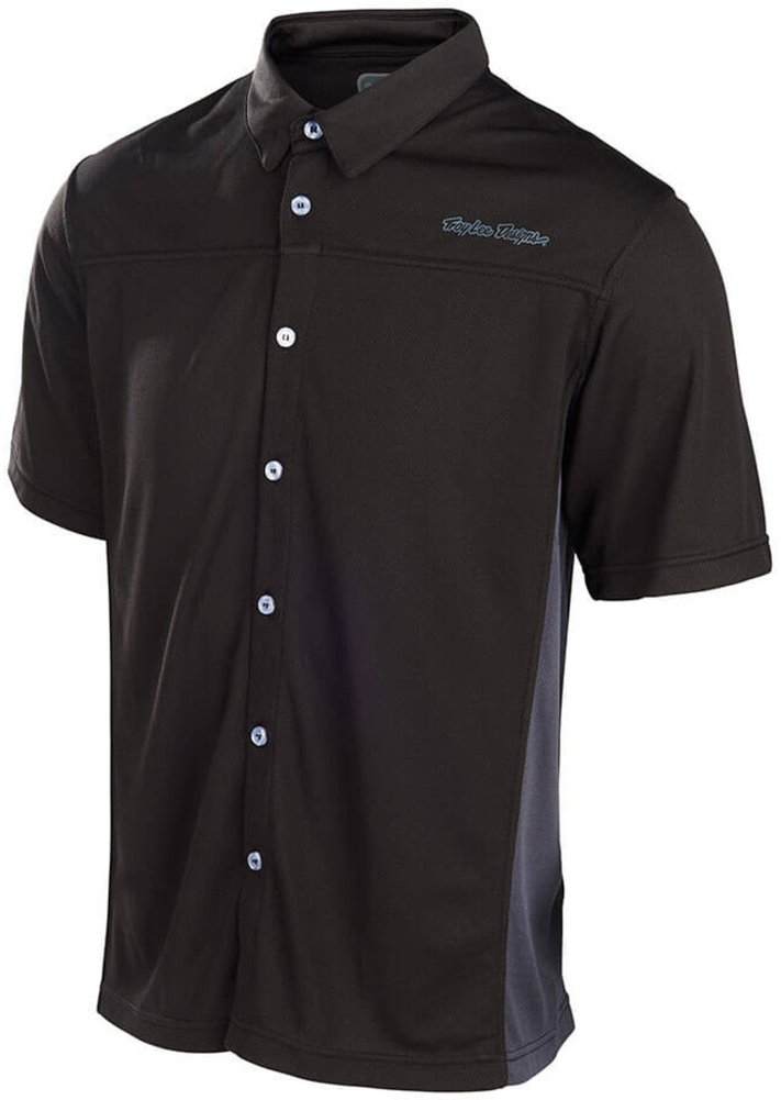 Troy lee designs mens compound pit polyester button up for Polyester button up shirt